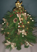 Homemade Gold Themed Lighted Miniature Mini Faux Christmas Tree W/ Angel Topper