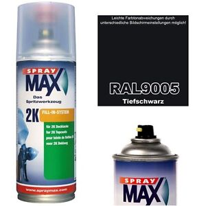 Spraydose-2K-Lackspray-Matt-Seidenmatt-Glaenzend-RAL-9005-TIEFSCHWARZ-Acryllack