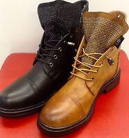 Damen Schuhe Stiefeletten Boots Schnürstiefel mit Strass 36-41 Schwarz/Camel