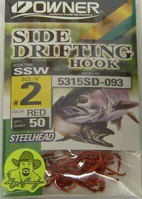 Owner Side Drifting Hooks Steelhead SSW Octopus #5315SD-091 Size #2 BLK 50 pack