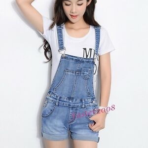 New Summer Women s Girls Denim Bib Pants One-Piece Jean Short Pants ... 2970b9be1a8e
