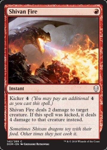 4x Shivan Fire MTG Dominaria NM Magic Regular