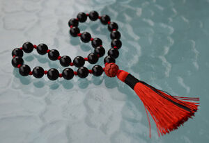 70e15bb659c9a Details about 27+1 Black Tourmaline Pocket Mala, Tourmaline Mini Mala, 8 mm  Quarter Mala Beads