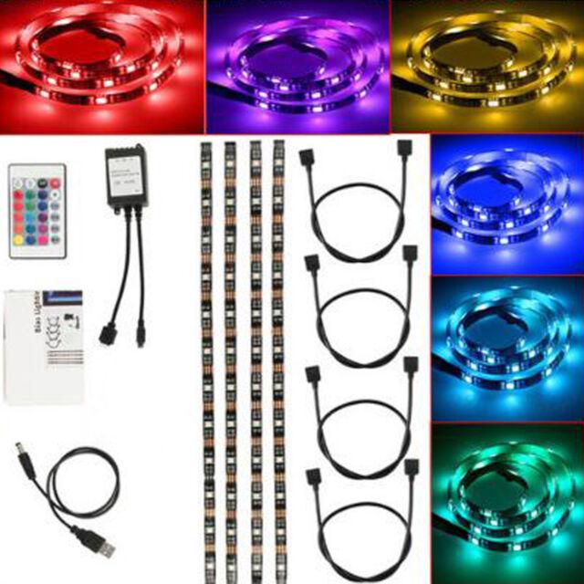 DC 5V 5050 RGB LED Strip Light TV Back Lighting Kit + USB IR Remote Controller
