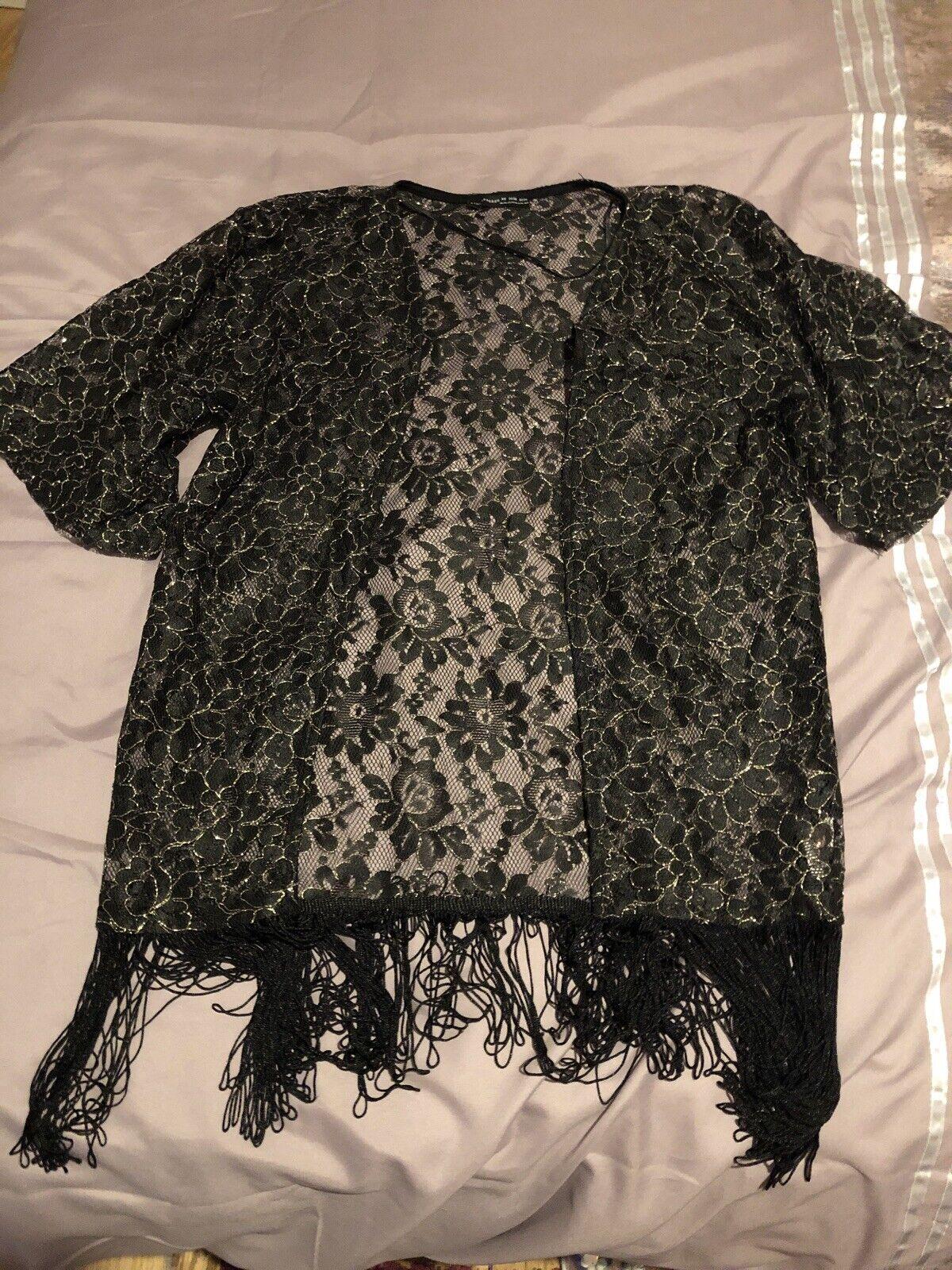 Primark atmosphere Xs size 6/8 black tassle gold lace kimono jacket