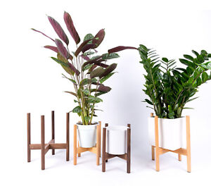 Image Is Loading Mid Century Modern Plant Stand Wood Indoor Flower