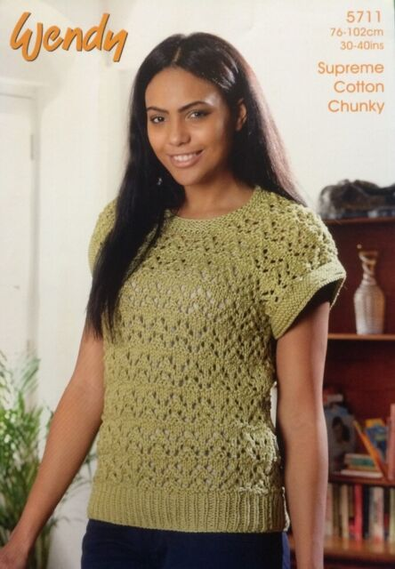 b5d1f17050a73e Original Wendy Ladies Lacy Top Knitting Pattern Leaflet 5711 DK New Free  Postage