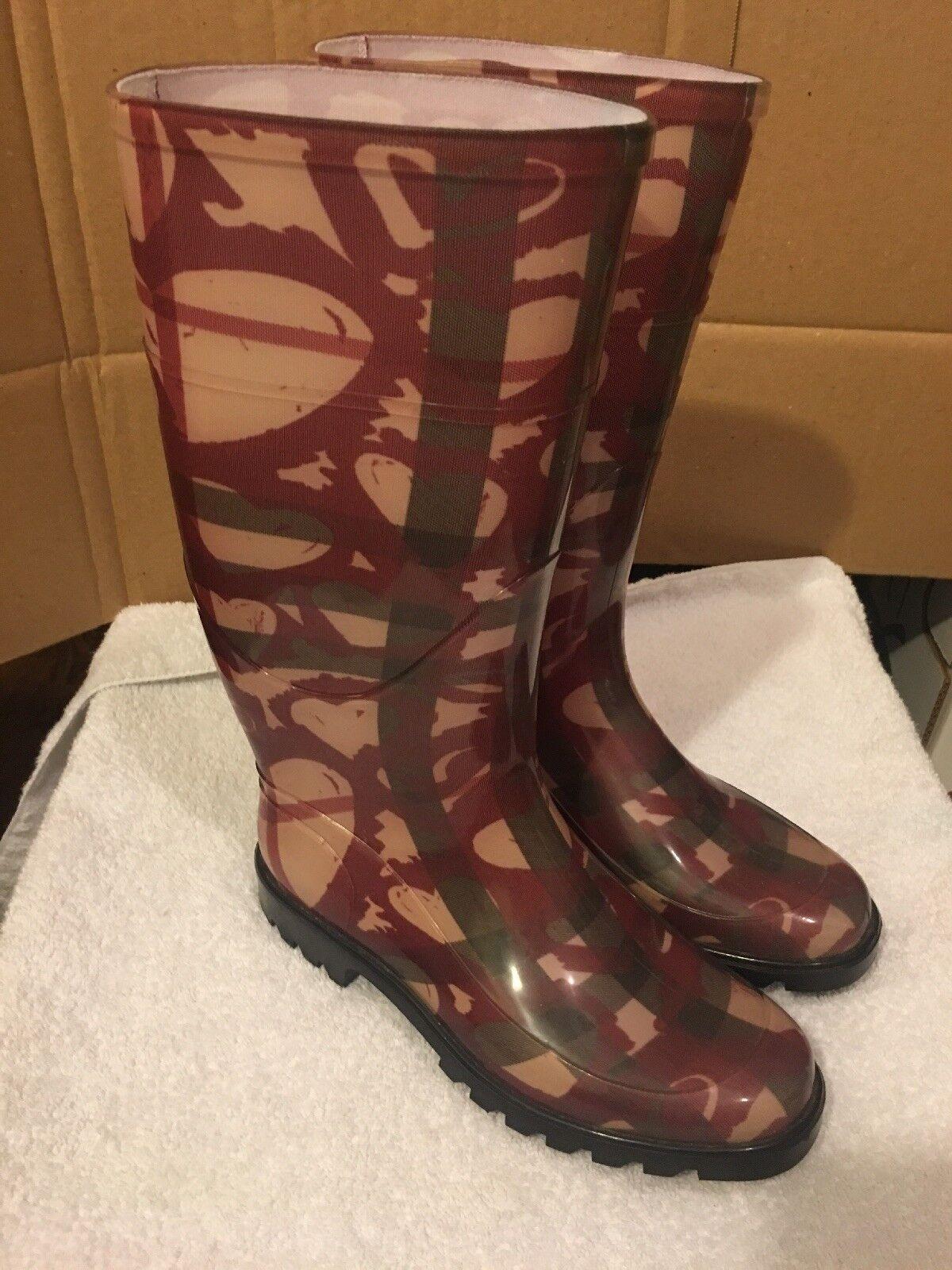 Burberry Womens Mid Calf Rain Boots Rubber Plaid Burgundy- Pink Size 6.5–7
