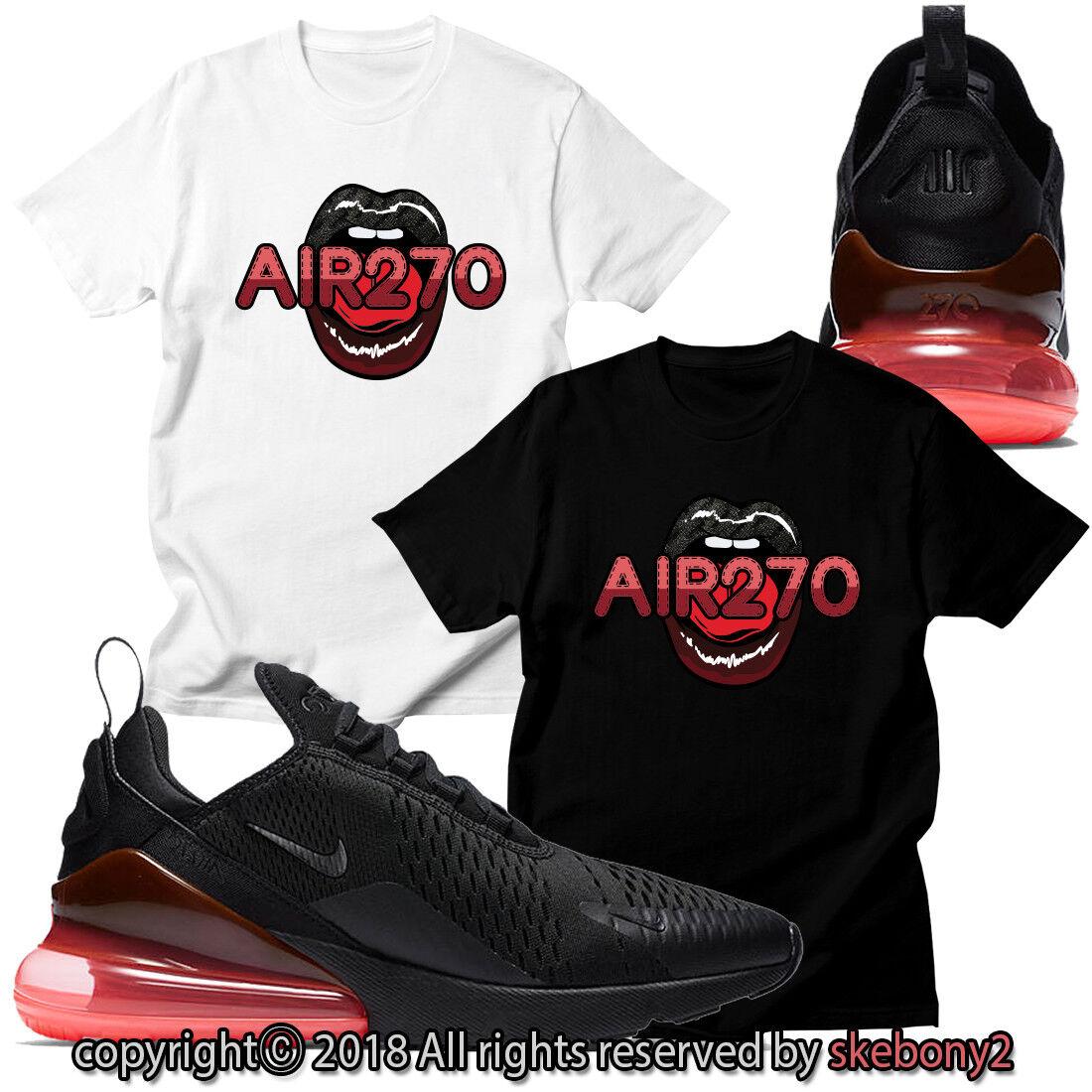 ÚJ CUSTOM T-SHIRT, amely megfelel Nike Air Max 270 BLACK / HOT PUNCH AM270 1-7-10