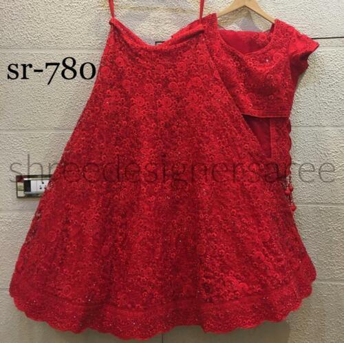 Party Wear Lehenga Choli Indian Embroidered Designer Red Lengha Chunri Georgette