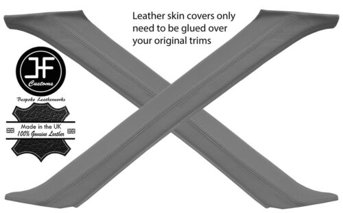 GREY REAL LEATHER 2X A POST PILLAR COVERS FITS RANGE ROVER P38 1994-2002