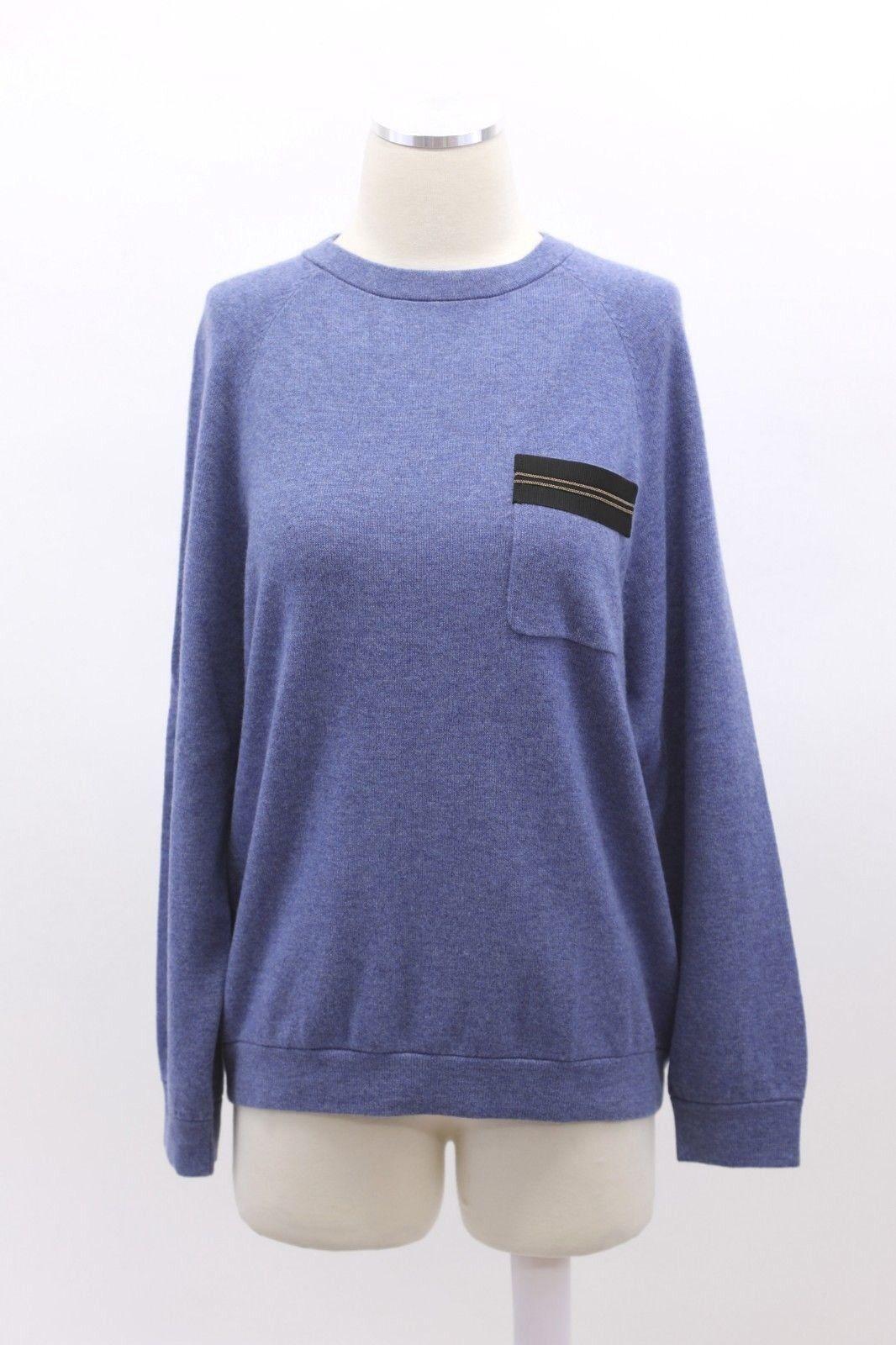 NWT  Brunello Cucinelli Women's 100% Cashmere Monili Bead Trim Sweater A186
