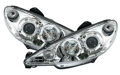 PHARES FEUX AVANT AV ANGEL EYES CHROME LED H7 PEUGEOT 206 1.9 D 1.4 2.0 HDI S16