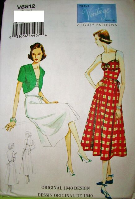 Vintage Vogue 8812 Sewing Pattern 1940 Design Dress Bolero Sz 6 14