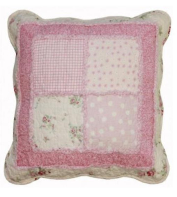 Hampton Pink Rag Floral Rose Shabby Patchwork Sofa Couch Bed Cushion Toss Pillow