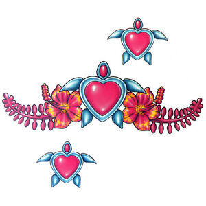 Lethal-Threat-Girl-039-s-Club-Temporary-Tattoo-Hearts-amp-Flowers-Lower-Back-Tattoos