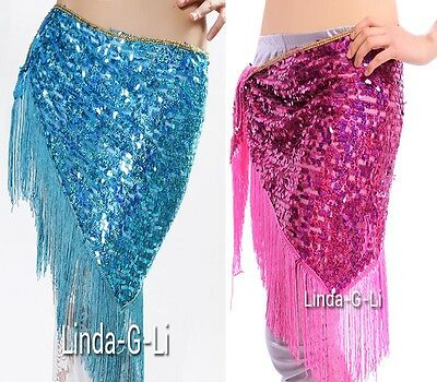 Triangle Belly Dance Hip Scarf Belt with Sequins & Fringe 6 Colors  Tassels 1/2