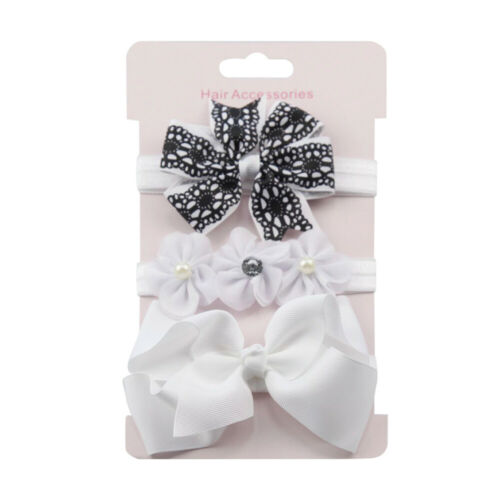 Toddler Baby Girls Kids Elastic Sweet Floral Headband Bowknot Hairband 3Pcs Set