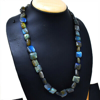 Labradorite 50cm Collier Halskette 5mm Perle Edelsteinkette Schwarz Labradorit