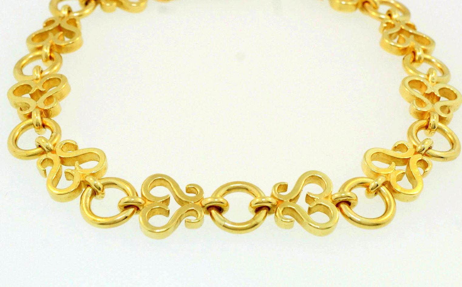 20K Yellow gold Size 7.75  Vintage Celtic Link Bracelet 7mm Width Unisex Design