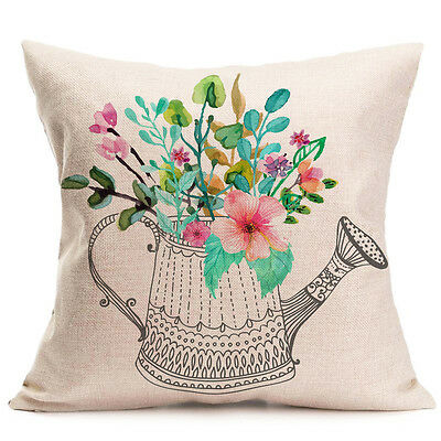 Vintage Flower Print Home Decor Throw Pillow Case Sofa Bed Waist Cushion Cover