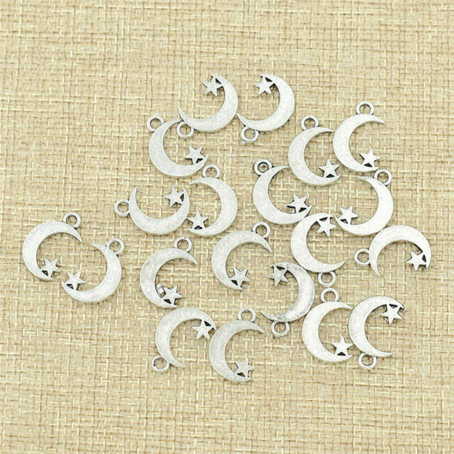 20pcs Antique Silver Moon /& Star Fairy Angel Charms Pendant DIY Jewelry Findings