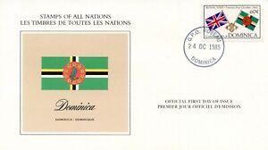 DRAPEAU-PREMIER-JOUR-LES-TIMBRES-DE-TOUTES-LES-NATIONS-DOMINICA-1985