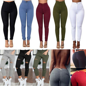 Womens-High-Waisted-Stretchy-Jeans-Denim-Pants-Jeggings-Skinny-Pencil-Trousers