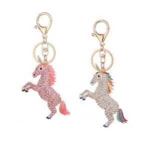 Crystal-Rhinestone-Unicorn-Pendant-Car-Keyring-Bag-Keychain-Key-Ring-Chain-Gift