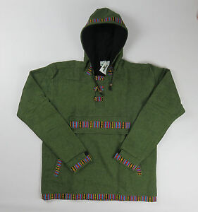 L - XXL Fleece Lined Smock Style Cotton Hooded Cacket - Made In Nepal wksnTf9P