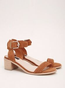 Torrid Collection Genuine Suede Braided Mini Heels Wide Width ... Braun ... Width 6d4aa5