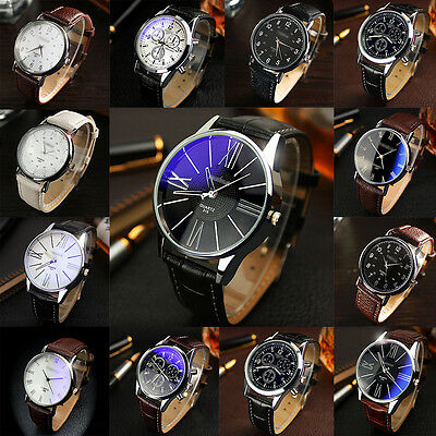 Hot Sale Faux Leather Mens Luxury Quartz Round Dial Analog Fashion Watch Watches