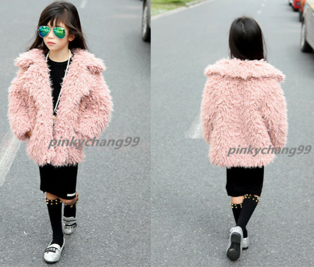Kids Children Winter Soft Warm Fluffy Girl Faux Lamb Fur Coat Jacket Outwear
