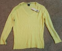 Taylor Marcs, Pale Yellow, Long Sleeve Cable Knit Sweater Sz Medium