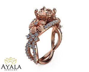 Image is loading 14K-Rose-Gold-Morganite-Ring-Gemstone-Engagement-ring- 6840dc3efeca