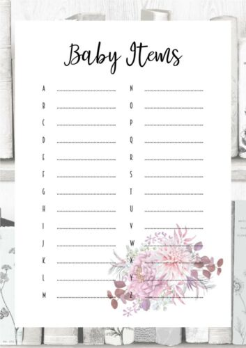 8 games to choose from Baby Shower Games Pink Purple Flowers