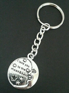 New-039-I-love-you-to-the-moon-amp-back-039-Silver-Tone-Metal-Keyring-Keychain-Bag-Charm