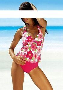 Beach-Time-Tankini-Set-38-tgl-Coppa-B-Fucsia-Bianco-Nuoto-Elasticizzato-Donna