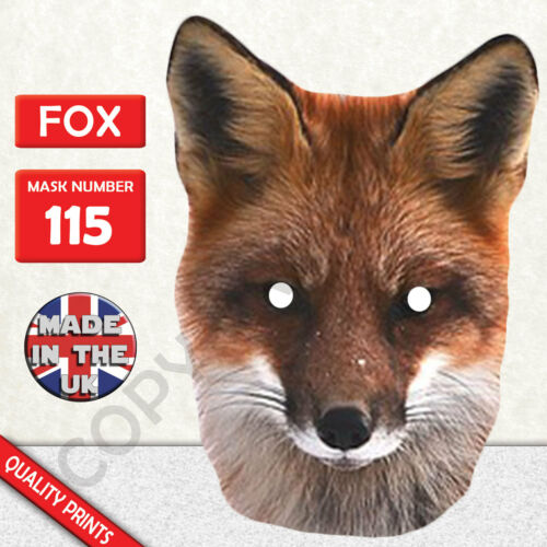 Fox Animal Card Mask Fast Dispatch Made In The UK New
