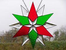 Bleiverglasung Fensterbild Facetten- Weihnachts- Stern in Tiffany - Technik