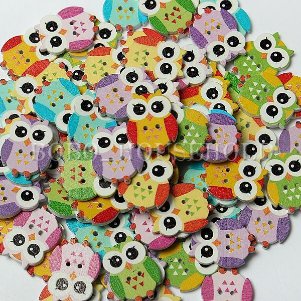 100Pcs Cute Mixed Owl 2 Holes Wooden Buttons for Sewing Craft Scrapbooking DIY