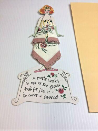 Vintage Women's FANCY Handkerchief & paper doll gi