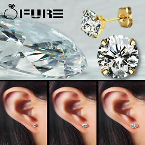 Cute-Trendy-3mm-8mm-316L-Surgical-Steel-Yellow-Gold-Cubic-Zirconia-Stud-Earrings