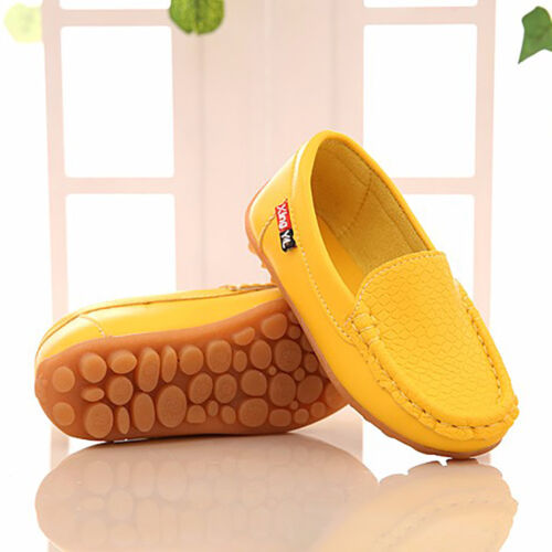 Boys Girls Kid Casual Soft Peas Leather Slip On Flat Shoes Loafer Oxford Sneaker