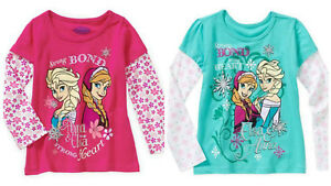 Disney-Frozen-Girls-Long-Sleeve-Tee-Elsa-Ana-Olaf-Kids-Size-4-5-6-6X