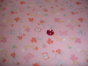 5-8-Yd-24-034-Pink-with-small-flowers-amp-butterflies-tossed-allover-flannel-X-43-034-W