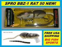 Spro Bbz-1 Rat 50 Topwater Lure Brown Color Free Usa Shipping Srt50z1brn