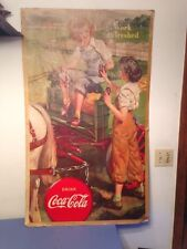 Extremely Rare Huge 1943 Drink Coca Cola Work Refreshed War Time Poster