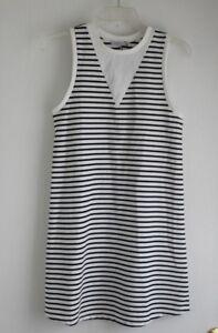 Zara-Trafaluc-Shift-Dress-Sleeveless-Striped-Black-White-Size-Small-S-Casual-EUC