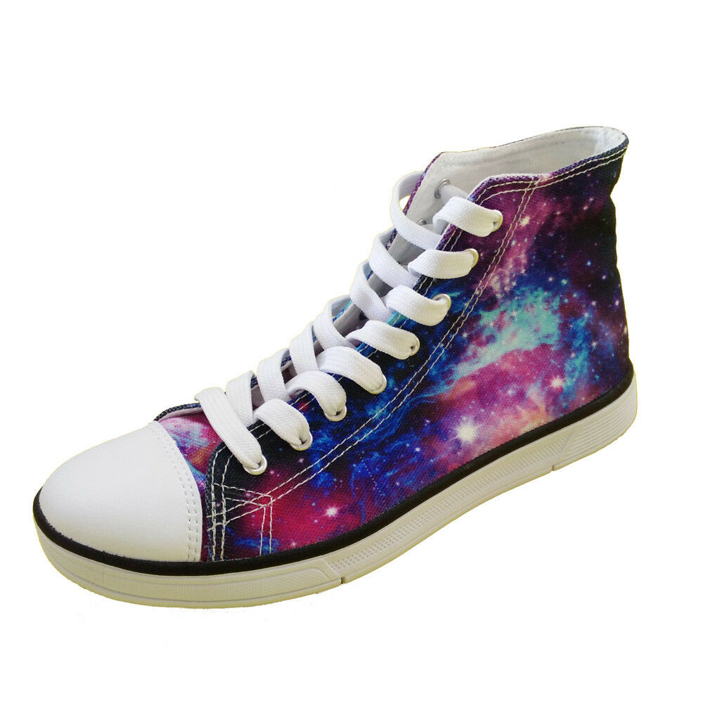 Galaxy Fashion Men Womens High Top Canvas shoes Casual Flat Sneakers Lace Up